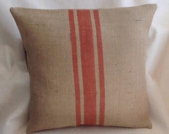 Burlap Striped Pillow Cover, Grain Sack, Rustic Orange Urban Farmhouse Pillow by sweet janes plan