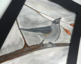Watercolor Bird Print. Tufted Titmouse.  Bird on a Branch.  Shades of Gray. 8X10. Nature Watercolor Art. Wall Art.