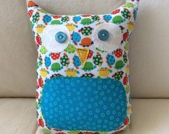 Ollie the Owlet - stuffed owl - bright colored turtles with blue belly