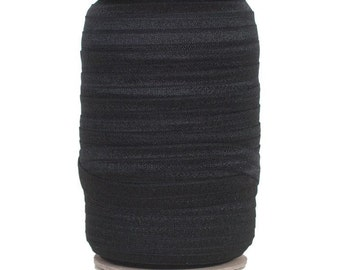 "Black - 100 Yard Roll - Fold Over Elastic - 5/8"" Wide Solid Wholesale FOE"