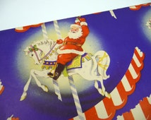Vintage Christmas Gift Wrap Santa Horse Partial Sheet for Wrapping Paper Kitschy Retro Holiday Crafts Altered Art