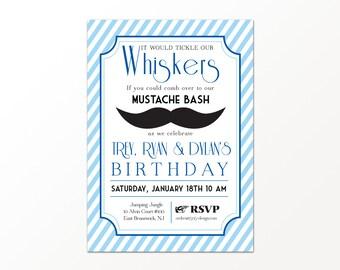 Mustache Invitation - Printed or Digital Mustache Birthday Invitationby 505 Design, Inc