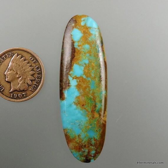 Royston ribbon turquoise hand cut cabochon from by for Royston ribbon turquoise jewelry
