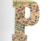 Paris Map Custom Wooden Letters - Nursery Name Décor - Travel Nursery - Initial Monogram - Large Wood Wall Decorations - Baby Shower Gift