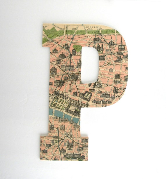 Paris map custom wooden letters nursery name d cor by for Large wall letters for nursery