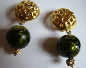 YSL Yves Saint Laurent Rive Gauche Left Bank Earrings with deep green glass pendant