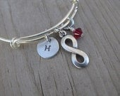 Infinity Bangle Bracelet- Adjustable Bangle Bracelet with Hand-Stamped Initial, Infinity Charm, and accent bead of choice- Personalized Gift