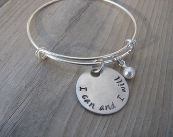 """I Can and I Will Inspirational Bracelet- """"I can and I will"""" with accent bead of your choice- Hand-Stamped Bracelet- Jenns Handmade Jewelry"""