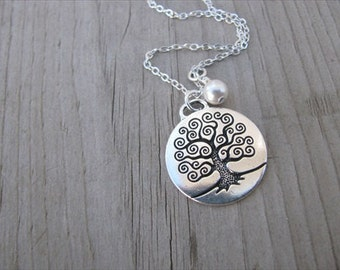 Mothers Necklace, Grandmothers Necklace- Personalized Family Tree Necklace, with an accent bead in your choice of colors