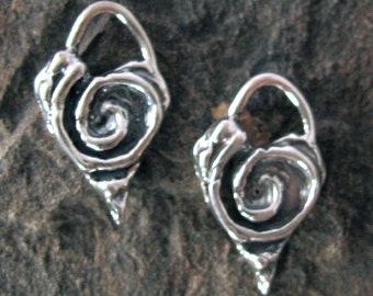 STERLING SILVER Heart Charms - 2 Rustic Boho Artisan Hearts Swirled with Spirals AP36