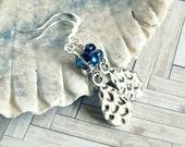 silver beaded drop earrings, french hook, dangle, drop, blue silver