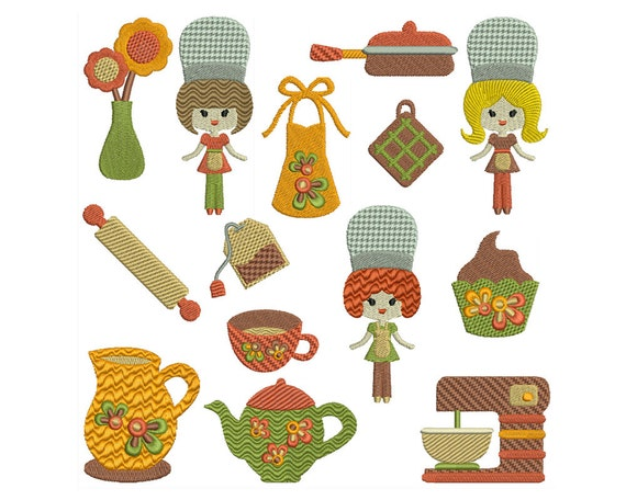 Retro Kitchen Machine Embroidery Instant By Embroiderquilt
