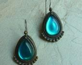 Ocean Green Teardrop Earrings, brass and resin earrings, dangle earrings, vintage teardrop earrings, brass earrings, green-blue earrings