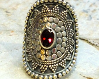 Sterling Silver Garnet Ring , large oval ring, sterling silver ring, red stone ring, semi precious stone ring, January birthstone ring