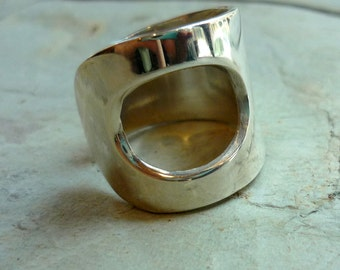 Sterling Silver Ring, Wide Cut Out Band, Chunky Silver Ring, Wide Band, Statement Ring