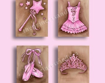 Ballerina girls art, ballet artwork, girls nursery art, ballet dance art, set of 4 prints