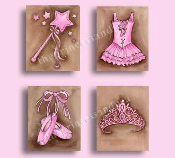 Ballerina girls art, ballet artwork, girls nursery art, ballet dance art, set of 4 prints