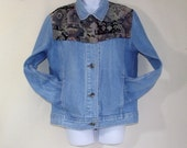 Vintage LL Bean Denim Jacket Southwestern Style Womens Small S Coat