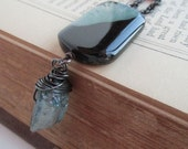 Long Agate and Crystal Necklace - Natural Stone - Rustic - Midnight Quartz