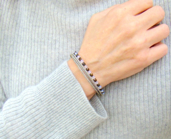 Moonstone Memory Bracelet // Beaded Wrap Bracelet in Bronze and Pale Blue // Coil Bracelet // Gift for Her // Virgo Gift - BJ0013