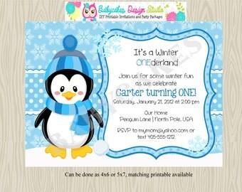 Winter Onederland Birthday Invitation - Winter Birthday Invitation - 1st birthday Invitation  Boy - DIY Print Your Own