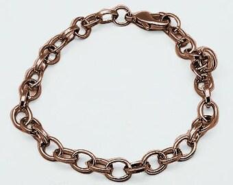 Wholesale Charms Bracelets Antiqued Copper Link Bracelets 10 pieces Link Chain Copper Chain Bracelets
