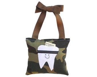 Tooth Fairy Pillow Boys Tooth Fairy Personalized Tooth Fairy Gift for Boys Personalized Tooth Fairy Pouch in Army Camo