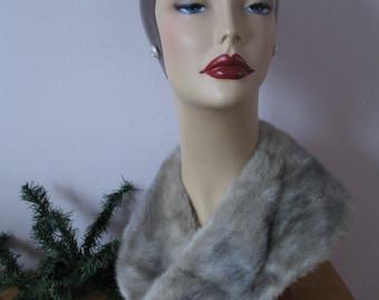 1940's Mink Fur Collar, Sweater or coat collar, Gray