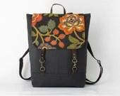 Navy canvas, Blossom flap backpack, laptop backpack, diaper bag, 2 front pockets, Design by BagyBags