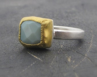 African Green Opal Ring - 24k Gold & Silver Ring - Rectangle Opal Ring - Gemstone Ring
