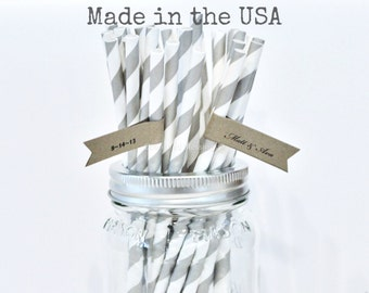 Gray Paper Straws, 50 Grey Straws, Striped, Cake Pop Sticks, Paper Goods Rustic Wedding Vintage Birthday Bridal Baby Shower Made in USA