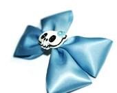 Blue Satin Bow Hair Clip, Blue Skull Hair Bow, Whimsical Bow Clip, Double Bow Clip, Girly Hair Bow, Skull Bow Clip, Slate Blue Bow
