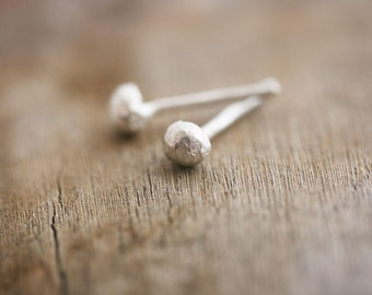 Tiny Silver Nugget Earrings Silver Nugget Earrings Pebble Earrings Silver Pebble Stud Minimal Silver Studs