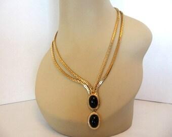 Vintage Black Glass Chain Necklace - Drop Double Pendant w/ Double Chain