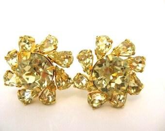 Vintage Citrine Yellow Rhinestone Earrings
