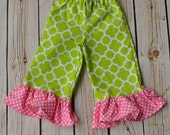 SAMPLE SALE size 18M ONLY Girls baby toddler Easter spring ruffle pants lime green quarterfoil and pink polka dots
