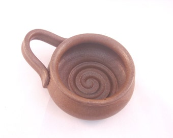 Shaving Mug with Ridges for Good Soap Lather, Comfort Shave - Handmade Pottery Glazed in Matte Brown