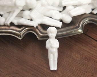 Miniature Plastic Dolls - Tiny Unpainted White Baby Doll Figurines, 12 Pcs.