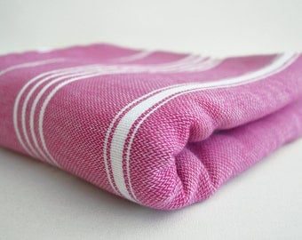 SALE 50 OFF / Classic Blanket / Fuschia / Double Size / Beach blanket, Picnic blanket, Sofa throw, Tablecloth, Bedcover
