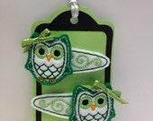 Spring Green Owl Hair Feltie Set