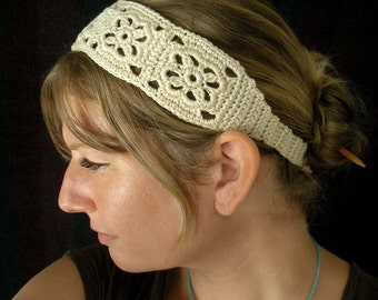 Crochet Headband, Boho Knit Hairband in Ivory White 100% Cotton