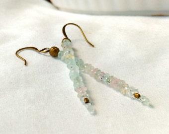 Stacked Aquamarine Gemstones Antiqued Brass Dangle Earrings