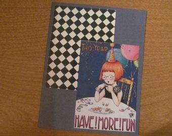 New Year card -- upcycle Mary Engelbreit