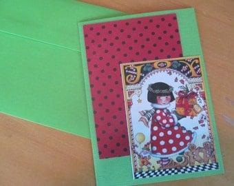 Christmas Card -- Mary Engelbreit upcycled Joy and polka dots
