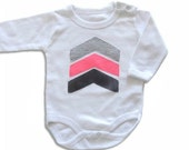 Baby Girl Geometric Onesie, Grey and Neon Pink Arrows Onesie, Arrows T- shirt