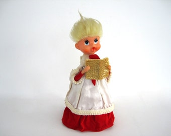 Vintage Caroler Christmas Tree Topper Decoration Cute Doll Head Arms Spun Hair 9 1/2 Inch