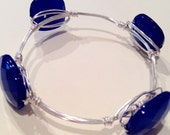 SALE!! Four Stone Royal Blue Wire Wrapped Bangle