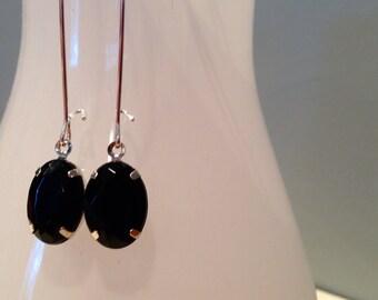 Jet Black Silver Drop Earrings