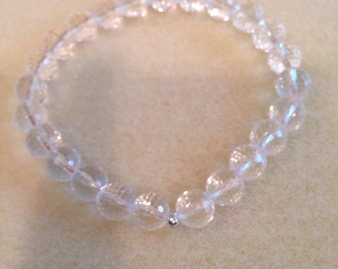 Quartz Bracelet, Clear Quartz Bracelet, Stretch Bracelet, 8mm Faceted Bead Bracelet, Rock Crystal Quartz, Quartz Beaded Bracelet