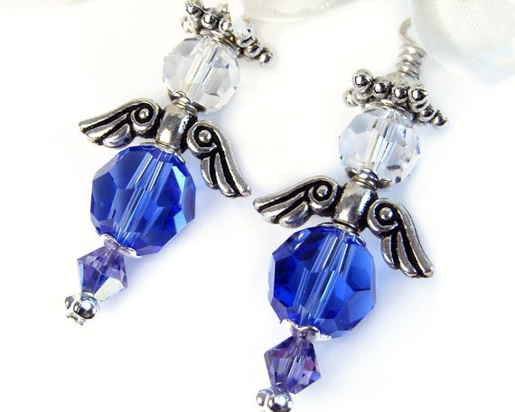 Blue Crystal Angel Earrings, Handmade, Swarovski Sapphire, Silver Tone Wings